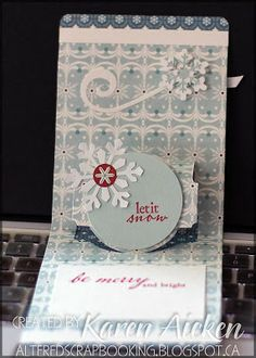 Karen Aicken using the A2 Pop 'n Cuts Base with included Circle Label Insert - Altered Scrapbooking: Wintertime Kit Pop 'n Cut Card #4