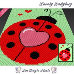 Lovely Ladybug crochet blanket pattern; c2c, knitting, cross stitch graph; pdf download; no written counts or row-by-row instructions by TwoMagicPixels, $3.99 USD