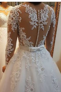 2019 A Line Scoop Neck Wedding Dresses Chapel Train Tulle With Applique & Beadin. - 2019 A Line Scoop Neck Wedding Dresses Chapel Train Tulle With Applique & Beading Detachable Skirt - Top Wedding Dresses, Wedding Dress Trends, Wedding Dress Sleeves, Bridal Dresses, Tulle Wedding, Mermaid Wedding, Beautiful Wedding Gowns, Beautiful Dresses, Mermaid Dresses