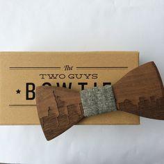 New York Skyline Wooden Bow Tie