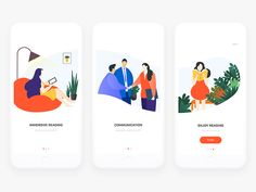 Onboarding illustration for reading APP. I hope you enjoy and communicate more. thank you.