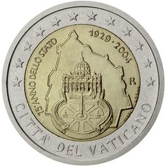 2 euro coin Anniversary of the Foundation of the Vatican City State Piece Euro, Money Notes, Money Box, Pope Leo, Valuable Coins, Euro Coins, Fortune, Small Letters, Commemorative Coins