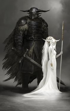 The Guardian by QuinnSimoes on DeviantArt. White witch and her black guard. Mage and knight