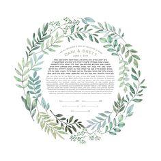 Spring Wreath Ketubah - Fine Art Print for interfaith, reform and orthodox weddings Wedding Vows, Dream Wedding, Wedding Decor, Wedding Ideas, Forest Wedding, Wedding Gifts, Wedding Dresses, Orthodox Wedding, Chuppah