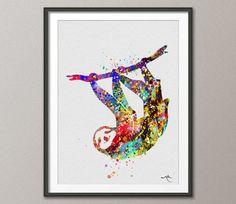 Sloth Watercolor illustrations Art Print Children's by CocoMilla, $15.00  I basically NEED this in my dorm