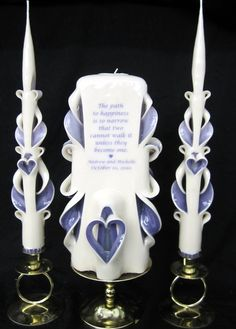 Lovely 3-piece carved poem wedding unity candle set - custom colors! $70 as shown   ...from UnityCandles.com