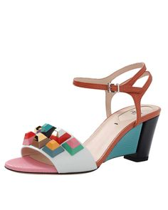 fe560ced42e3 Fendi - Orange Rainbow Studded Sandals - Lyst