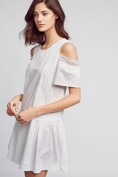 Open-Shoulder Poplin Dress | Anthropologie