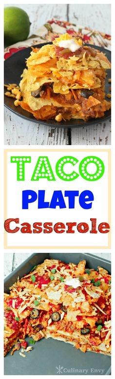 Taco Plate Casserole is layered taco meat, cheese, tortilla chips and a zesty refried bean mixture; it's a Mexican FIESTA in a pan!  Click to read more or pin and save for later!