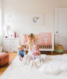 "Who else is swooning over @amberfillerup's nursery for little Rosie?! "" I just love how girly and feminine it feels,"" Amber told us. ""Rosie has such a sweet personality and I just feel like the room really suits her."" {link in profile for the full tour} #jossandmainmakeover #nurseyinspo"