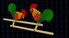 Pecking Roosters Wooden Toy 3D Model