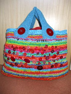 Recycled knitted bag made of plastic bags, vintage buttons & spare wool