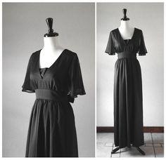 Jet Black Vintage Long Dress / Chiffon Flutter Sleeves / 1960s 1970s