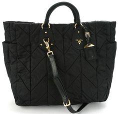 celebrities with nylon bags   Prada BN1542 Tessuto Quilted Tote Bag – Black   All Handbag Fashion