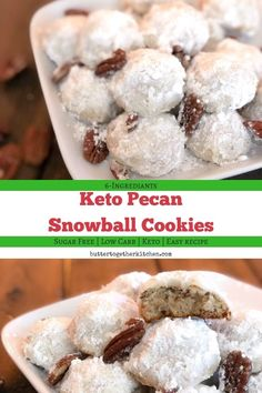 Enjoy these delicious buttery pecan snowball keto cookies any time of the year! They are the next best thing to the sugary cookie! You will love how tasty these buttery keto pecan snowball cookies are! Keto Cookies, Sugar Free Cookies, Brownie Cookies, Low Carb Sweets, Low Carb Desserts, Easy Cookie Recipes, Dessert Recipes, Keto Recipes, Pecan Recipes