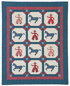 Cowboy Days quilt by Nancy Mahoney. Stop by to see the whole roundup of cheerful quilts inspired by the 1930s!