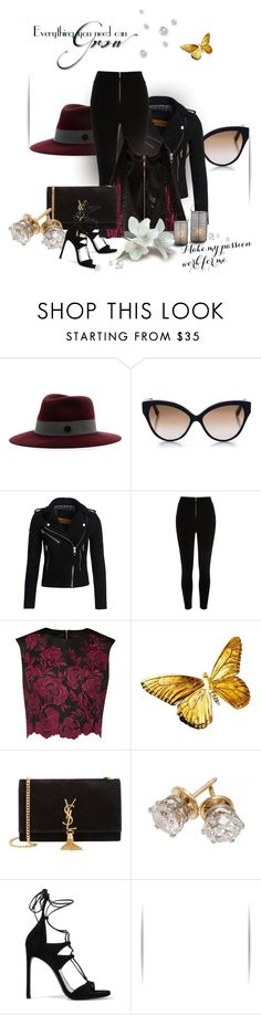 """Evening Glam..."" by iamnormag on Polyvore featuring MAISON MICHEL PARIS, Cutler and Gross, Superdry, River Island, Ted Baker, Yves Saint Laurent, Stuart Weitzman and datenightchic"