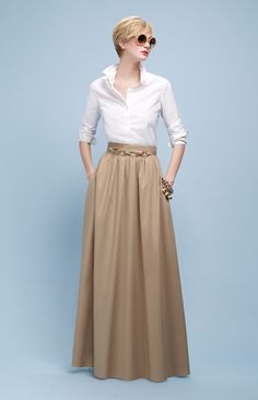 Spring/Summer Collection by Paule Ka for Graceful Ladies RORESS closet ideas fashion outfit style apparel white shirt, beige maxi skirt Mode Outfits, Skirt Outfits, Dress Skirt, Dress Up, Nude Skirt, Modest Fashion, Hijab Fashion, Fashion Dresses, Apostolic Fashion