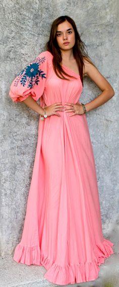 df444e704e27 Beautiful Hand Embroidered Linen Maxi Dress