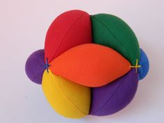 Amish Puzzle Ball - Sensory Learning Toy - Montessori Toy Ball - Baby Clutch Ball - Primary Colors Soft Fabric Ball - Lynne's Designs