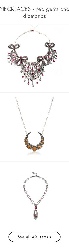"""""""NECKLACES - red gems and diamonds"""" by fallenangelfish ❤ liked on Polyvore featuring jewelry, necklaces, accessories, multiple, ruby jewelry, diamond jewelry, victorian jewellery, victorian jewelry, ruby necklace and 18k gold jewellery"""