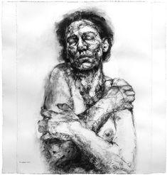 "Alison Lambert. Leda, charcoal and pastel on paper, 47"" x 49"", 119 x 125 cm, 2013"