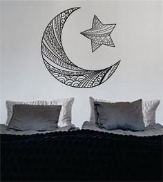 Moon and Star Version 2 Design Outer Space Decal Sticker Wall Vinyl Art Home…