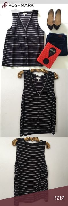 Joie Black Silk Ivory Striped Tank Top M EUC Like new 4.5/5 condition Joie Tops Tank Tops