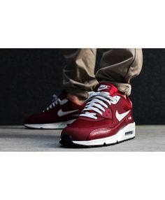 Air Max 90 Essential Deep Red Trainer Absolutely authentic, fine workmanship, smooth lines is definitely your best choice. Nike Fashion, Sport Fashion, Air Max 90 Hyperfuse, Air Max Sneakers, Sneakers Nike, Red Trainers, Mens Shoes Online, Cheap Nike Air Max, Mens Nike Air
