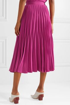 Co - Pleated Crepe Midi Skirt - Magenta Cos Skirts, White Heels, Magenta, Tie Dye Skirt, Midi Skirt, Dressing, Places, Tops, Products