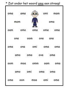 * Zet onder het woord oma een streep! 2 Letter, Grandma And Grandpa, Autumn Activities, School Hacks, Kids Education, Phonics, Spelling, Literacy, Kindergarten