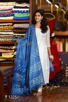 I luv this duppata but I don't pay 'll look for place where I can get this for 300 maximum. Kurta Designs Women, Churidar Designs, Dress Neck Designs, Saree Blouse Designs, Indian Dresses, Indian Outfits, Western Outfits, Blue Dresses, Kalamkari Dresses