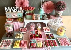 Party Table Baby Candy Bars Ideas For 2019 Candy Table, Candy Buffet, Dessert Table, Candy Bar Comunion, Bar A Bonbon, Baby Candy, Party Drinks Alcohol, Barbie Birthday, Birthday Cakes