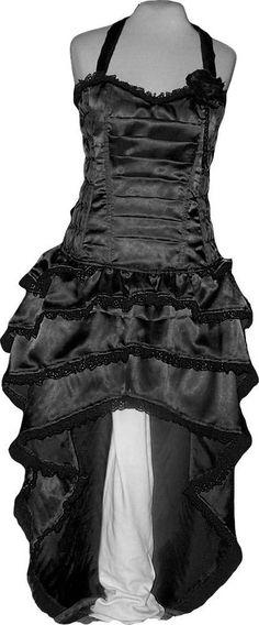 Black Bustle Dress Steampunk Fancy Costume Prom Burlesque made Custom Plus size #Handmade #TeaDress #Clubwear