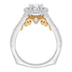 18kt white and yellow gold engagement ring from our Carizza collection