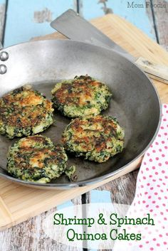 Shrimp & Spinach Quinoa Cakes Recipe (gluten-free, clean eating)