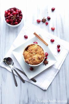 Bourbon Apple Cranberry Cobbler with Anise and Vanilla Bean | VanillaAndBean.com #Christmas #Holiday