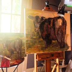 Working on a large commission with the palette knife. Lots of texture and colors!! #bovineart #nashvilleart #cowart #farmhousedecor #etsyseller