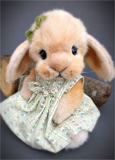 This sweet lop eared Bunny is named LUCY   She's 11 inches tall and is made from hand shaded Tissavel faux fur with a white tummy  She has b...