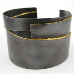 Cuff | Nina Dinoff. Copper with Patina and Gold Leaf