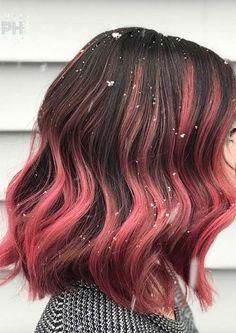 Hair Dye Colors, Cool Hair Color, Brown Hair Colors, Wine Colored Hair, Magenta Hair Colors, Rosa Highlights, Brown Hair With Highlights, Brown Ombre Hair, Light Brown Hair