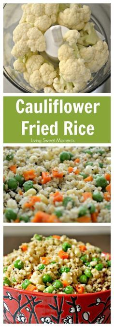 Cauliflower Fried Rice Recipe – Healthy, low-carb, and seriously tasty! Tastes so much like the Chinese takeout but without the guilt. More on livingsweetmoment… Cauliflower Fried Rice Recipe Healthy Rice Recipes, Vegetable Recipes, Diet Recipes, Healthy Snacks, Vegetarian Recipes, Healthy Eating, Cooking Recipes, Healthy Detox, Vegetable Dish
