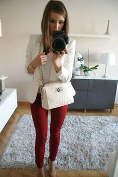 red pants with white blazer