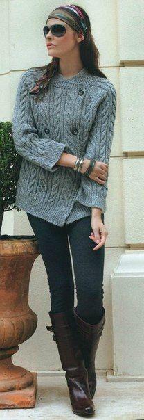 Вязаная кофта с необычной застежкой - Жакеты,полуверы, свитера