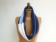 Penn State T Shirt Infinity Scarf / Gray / Blue / White / by ohzie