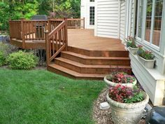 Like this deck design, now just add a stone patio with a fire pit and it would be perfect! (garden ideas for front of house shape) Garden Front Of House, House Deck, Up House, Home And Garden, Deck Pictures, Garden Pictures, Outdoor Plants, Outdoor Decor, Outdoor Stuff