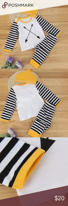   coming 11/10   3-piece matching set. Top features an arrow pattern and striped sleeves, the pants are also striped. Colors are black and mustard yellow. The pants have an elastic waistband and yellow cuffed hem. Price is set questions are welcome  tags: hipster, fall, kids, Aztec Matching Sets
