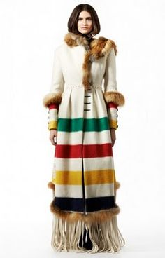 "Point Blanket coat with fur accents, by ""Harricana par Mariouche"" - La Compagnie de la Baie d'Hudson/HBC Capote Coat, Hudson Bay Blanket, Looks Style, My Style, Native American Clothing, Blanket Coat, We Are The World, Coat Patterns, Ideas"