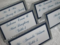 Silver & Navy Glitter Tented Place Cards, Escort Cards, Name Cards - #005 on Etsy, $1.75
