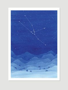 Taurus Watercolor painting constellation blue mountains giclee #turus #constellation #stars #mountains #blue #zodiac